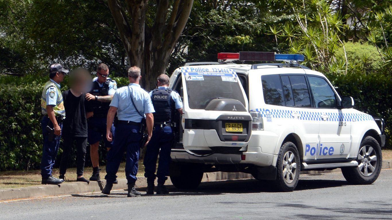 **BLUR FACE***Police make an arrest after a high speed car chase that ended in Gainsborough Way, Goonellabah.