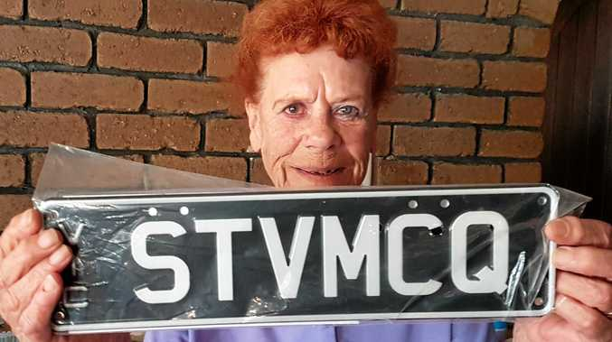 PERSONALISED PLATE: Kermie reckons his old mate Lorna's plate is a ripper. The Steve-McQueen inspired plates will go on her soon-to-be delivered Bullitt Mustang.