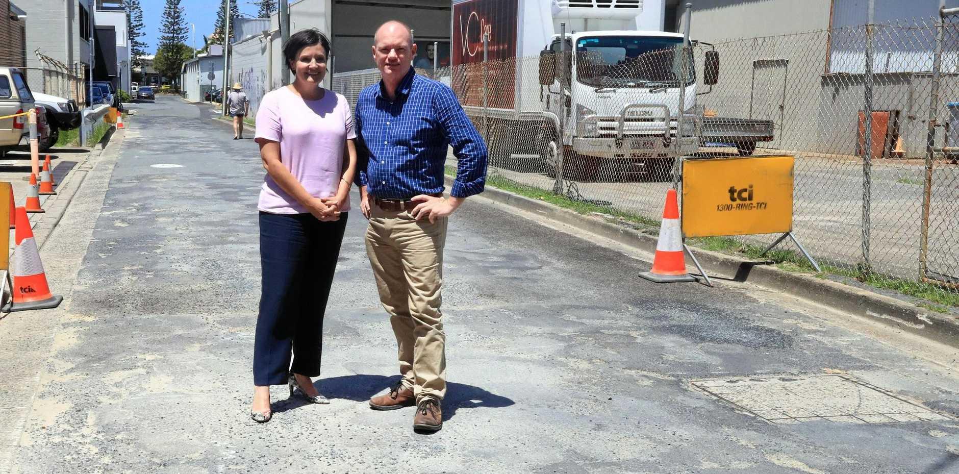 Jodi McKay and Craig Elliot were in Tweed Heads on Tuesday pledging money to fix roads.