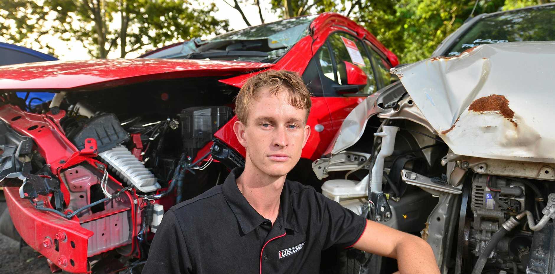 LUCKY SURVIVOR: Gavin Bartkowski, 24 was nearly killed in a head-on collision in 2016.