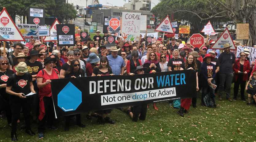 Protesters in Brisbane called for Adani's water licences to be reviewed in their 'Defend Our Water - Not one Drop for Adani ' campaign.