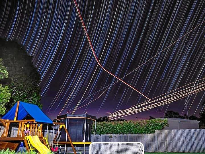 Backyard stars and air traffic.