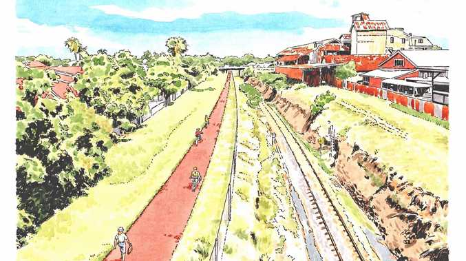 An artists impression of the rail trail proposed between Maryborough and Hervey Bay. The council has called for feedback on 'active travel' routes used by the community.