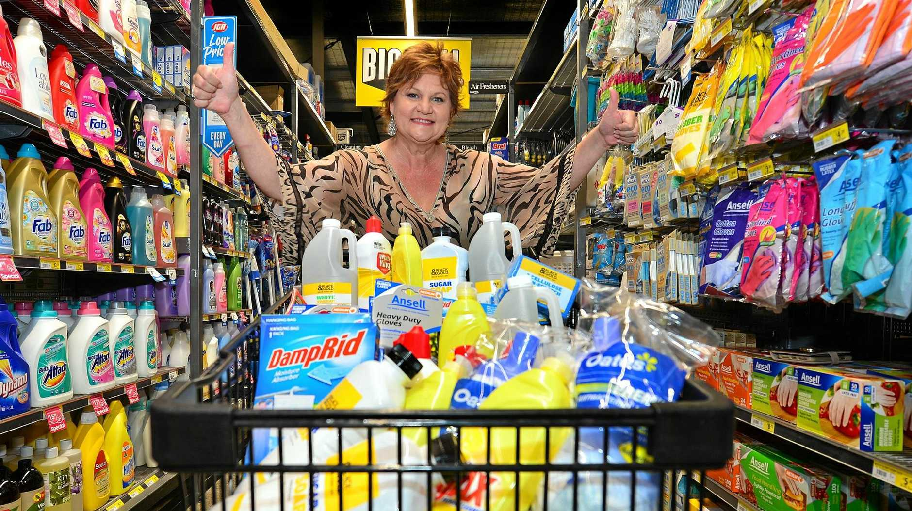 CLEAN UP: IGA operator Roz White is donating cleaning products to victims of the Townsville floods.