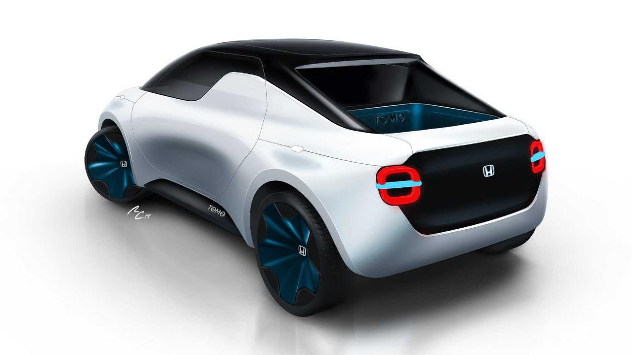 The Honda Tomo concept features a tiny open tray at the rear.
