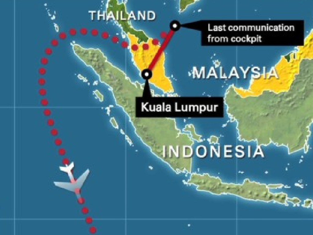 The last known location of MH370.