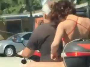 Woman's disgusting act on motorbike