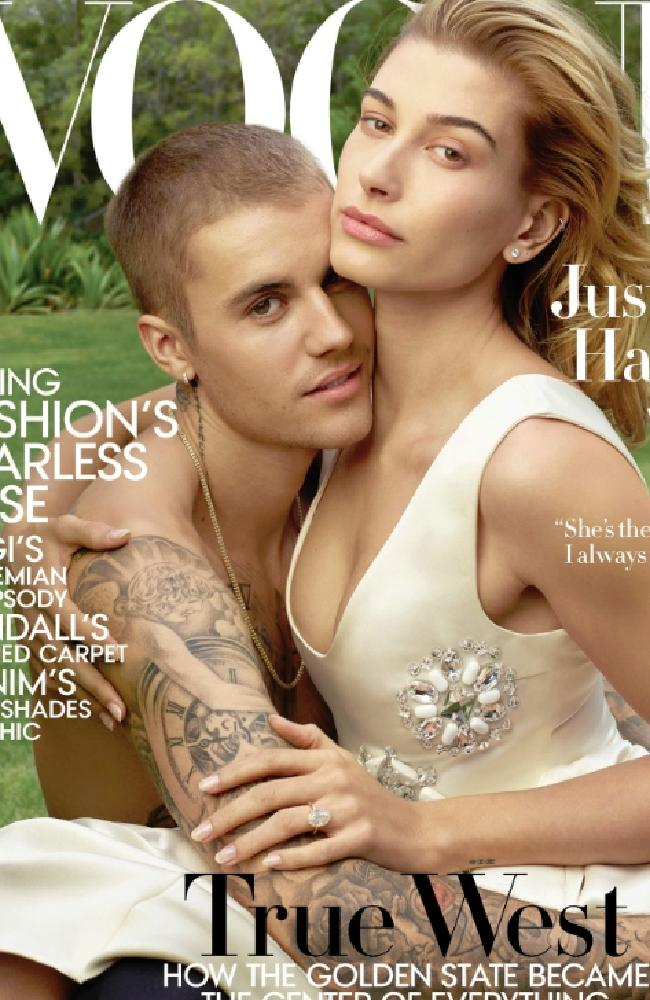 Justin and Hailey Bieber (formerly Hailey Baldwin) on THAT US Vogue cover. Picture: Vogue