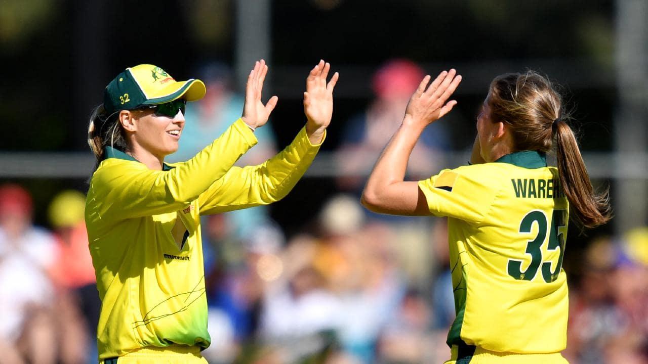 Meg Lanning (left) and Georgia Wareham are in the Australian squad. Photo: Darren England/AAP Image.