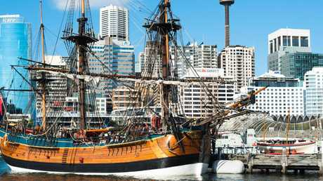 The replica of James Cook's HMS Endeavour, moored at the Australian National Maritime Museum. This year marks 250 years since the British explorer's arrival in Australia. Picture: supplied