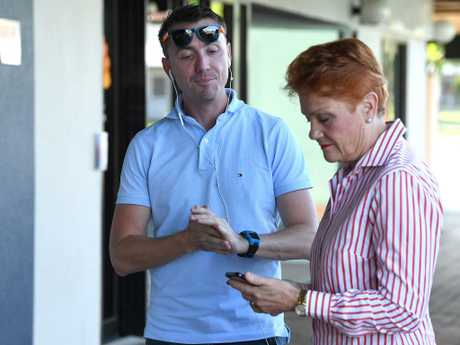 One Nation leader Pauline Hanson is seen with chief adviser James Ashby. Picture: AAP