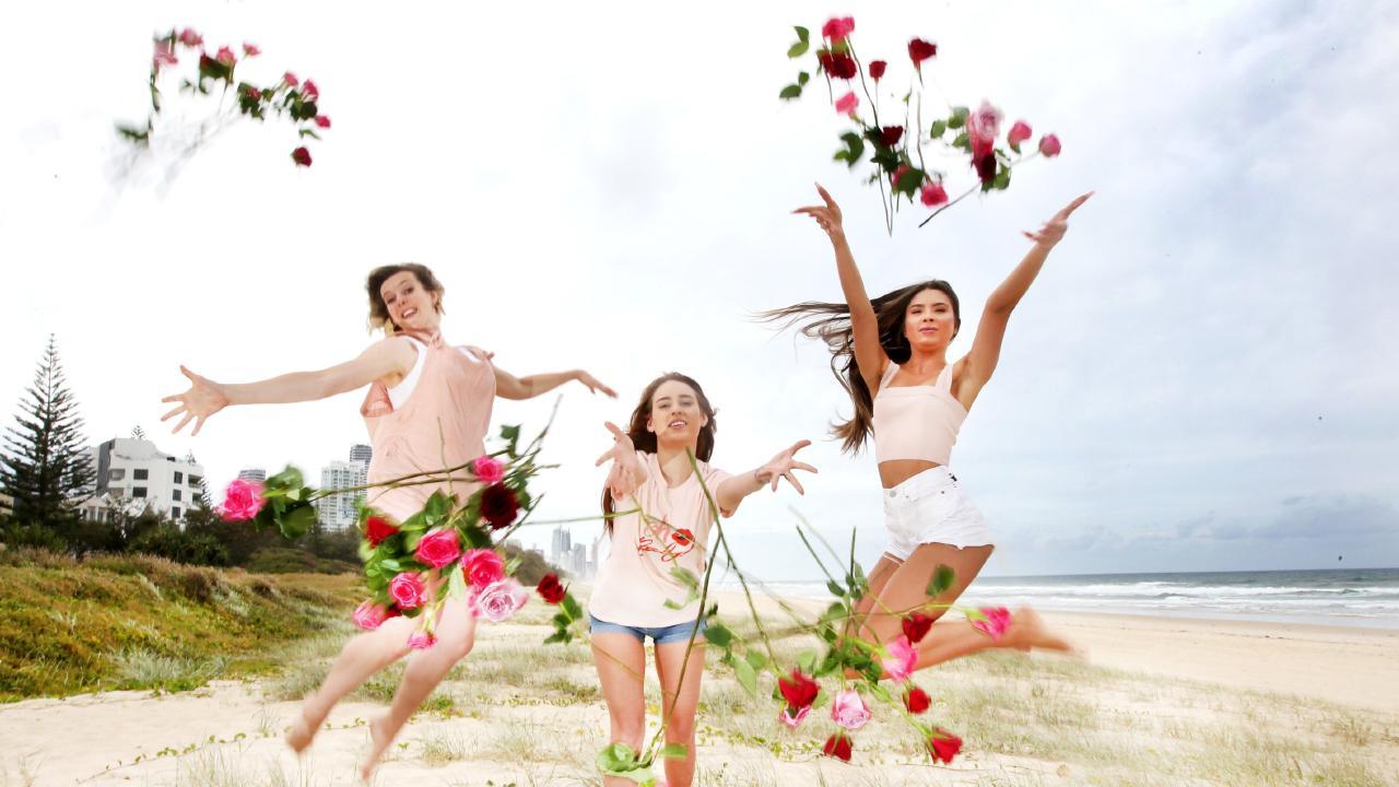 Alicia Harvie, Nakita Martin and Taylor McAdams get ready for Valentines Day