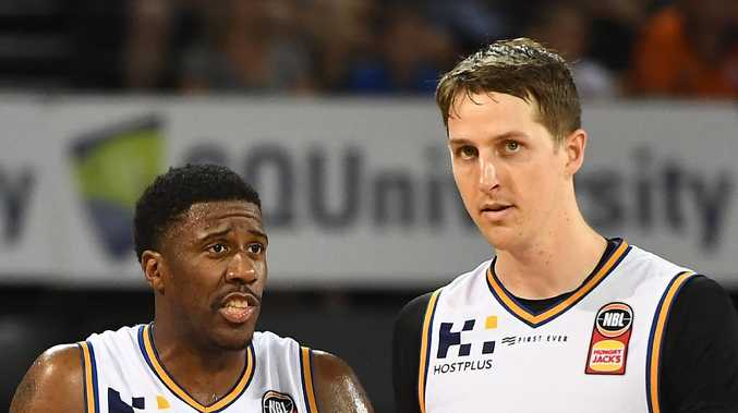 Bullets stars Lamar Patterson and Cameron Bairstow. (Photo by Ian Hitchcock/Getty Images)