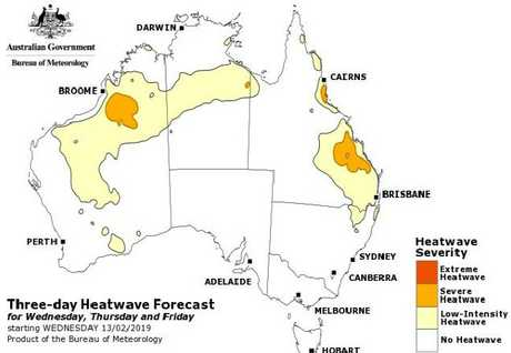 The BoM's three-day heatwave forecast shows a low-intensity heatwave for much of the southeast and central Queensland and part of the state's north. A severe heatwave is forecast for parts of central and north Queensland.