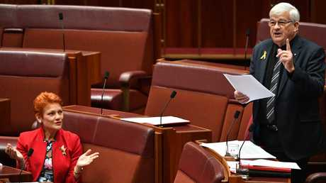 One Nation leader Senator Pauline Hanson interjects as Senator Burston delivers a speech for the United Australia Party in September 2018. Picture: AAP