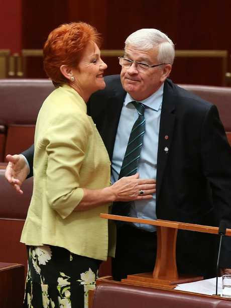 Ms Hanson congratulates Mr Burston on his maiden speech for the One Nation Party in 2016. Picture: Kym Smith