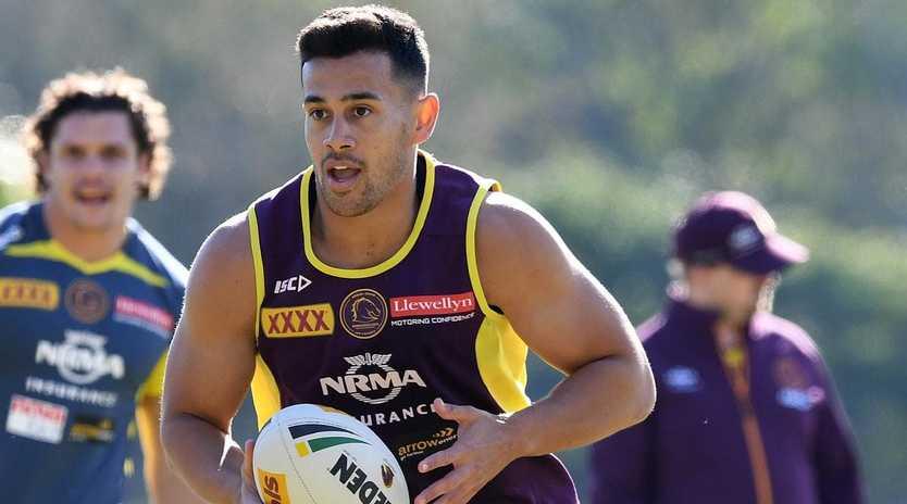 Jordan Kahu has shuffled around the backline for Brisbane. AAP Image/Dave Hunt.