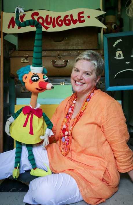Rebecca Hetherington with Mr Squiggle.