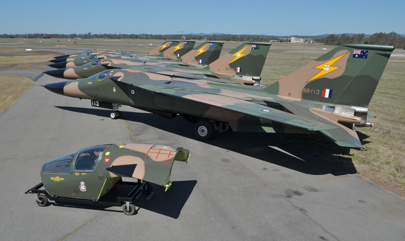 The newly renovated F-111 aircraft at RAAf Base Amberley on Thursday. Photo: Rob Williams / The Queensland Times