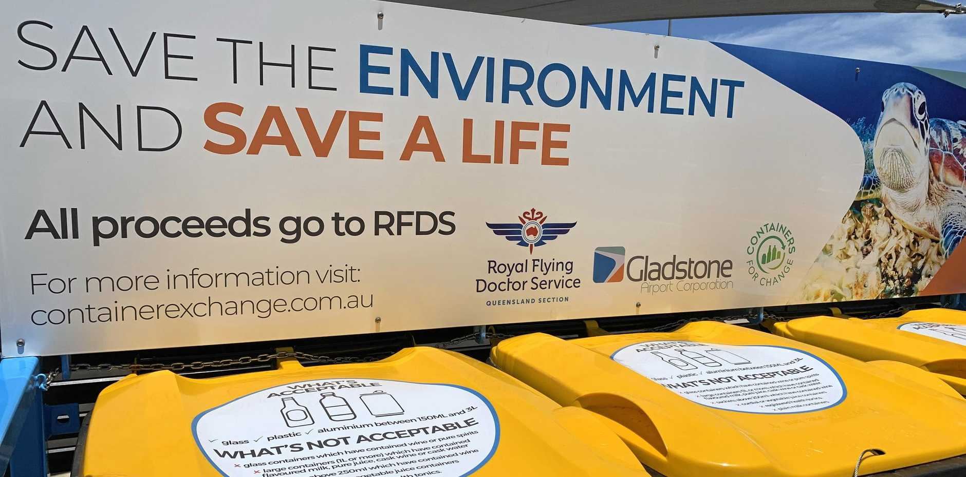 GOOD CAUSE: Gladstone Airport Corporation is helping the environment and the Royal Flying Doctor Service with a container exchange program at Gladstone Airport.