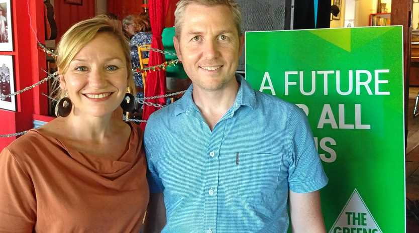RENEWABLE PUSH: Senator Larissa Waters with the Greens' candidate for Wide Bay, Daniel Bryar.