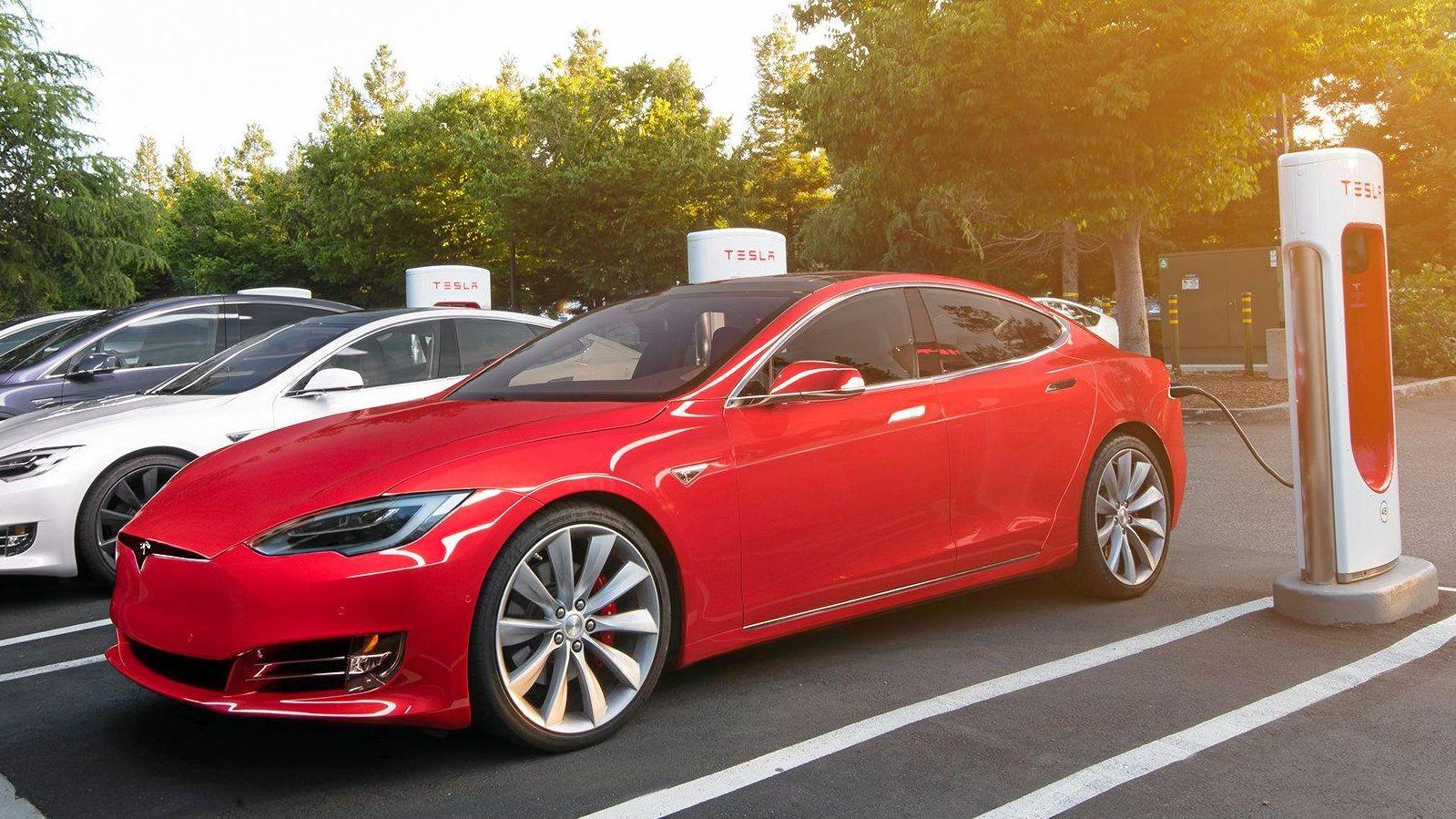 The Tesla Supercharger station.