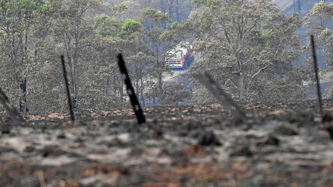 ABOVE: Damage to property on Chauvel Rd after a fire tore through bushland and property near Tabulam following high temperatures.
