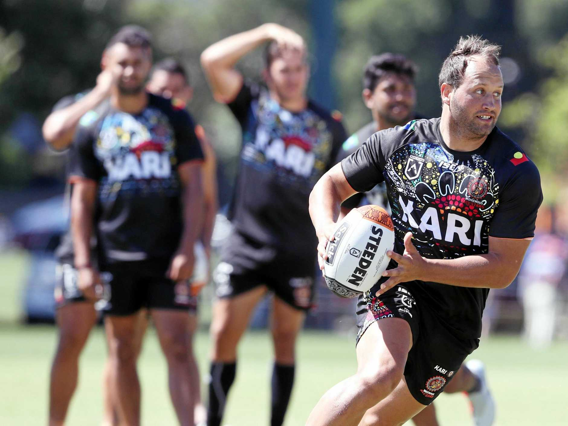 Tyron Roberts and his NRL Indigenous All Star teammates train at Gosch's paddock, Melbourne on Monday.  Picture: David Crosling/AAP