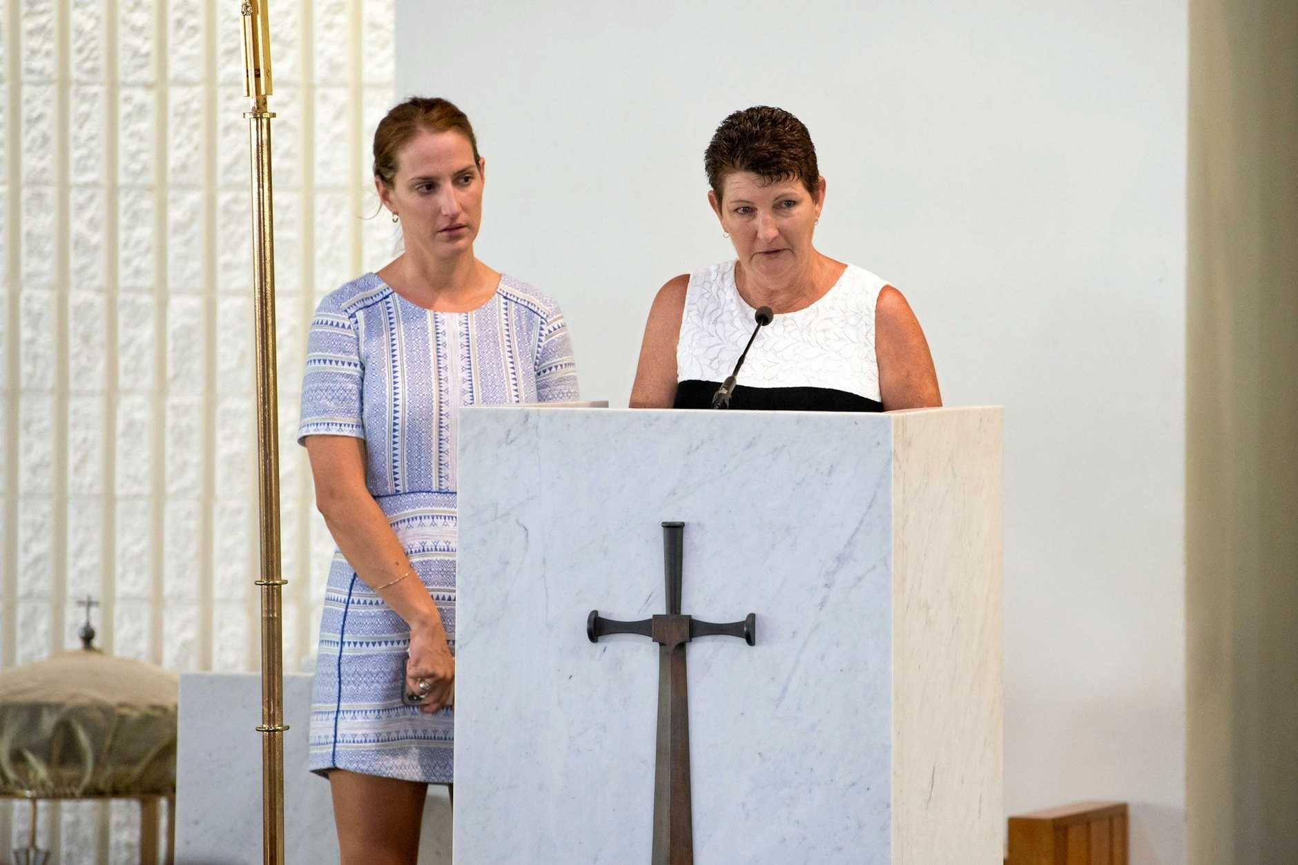 Craig McCulloch's partner, Heather Ball, and mother, Mary McCulloch, spoke fondly of the paramedic during a public funeral in Mackay on Thursday.