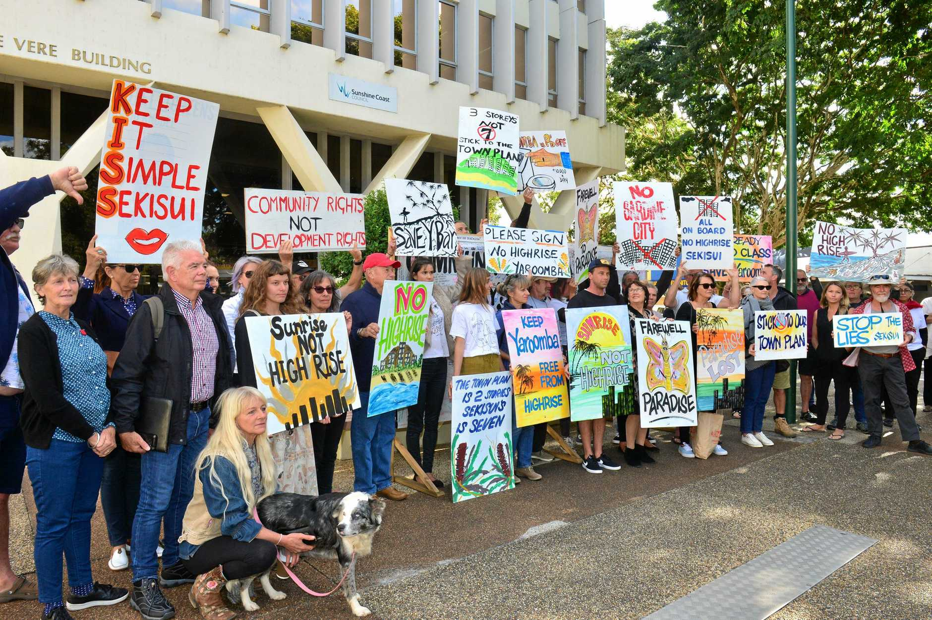 Special Council Meeting in Nambour. yaroomba Beach Development Application. Council vote yes on Sekisui House's yaroomba proposal. Protestors outside Council Chambers.