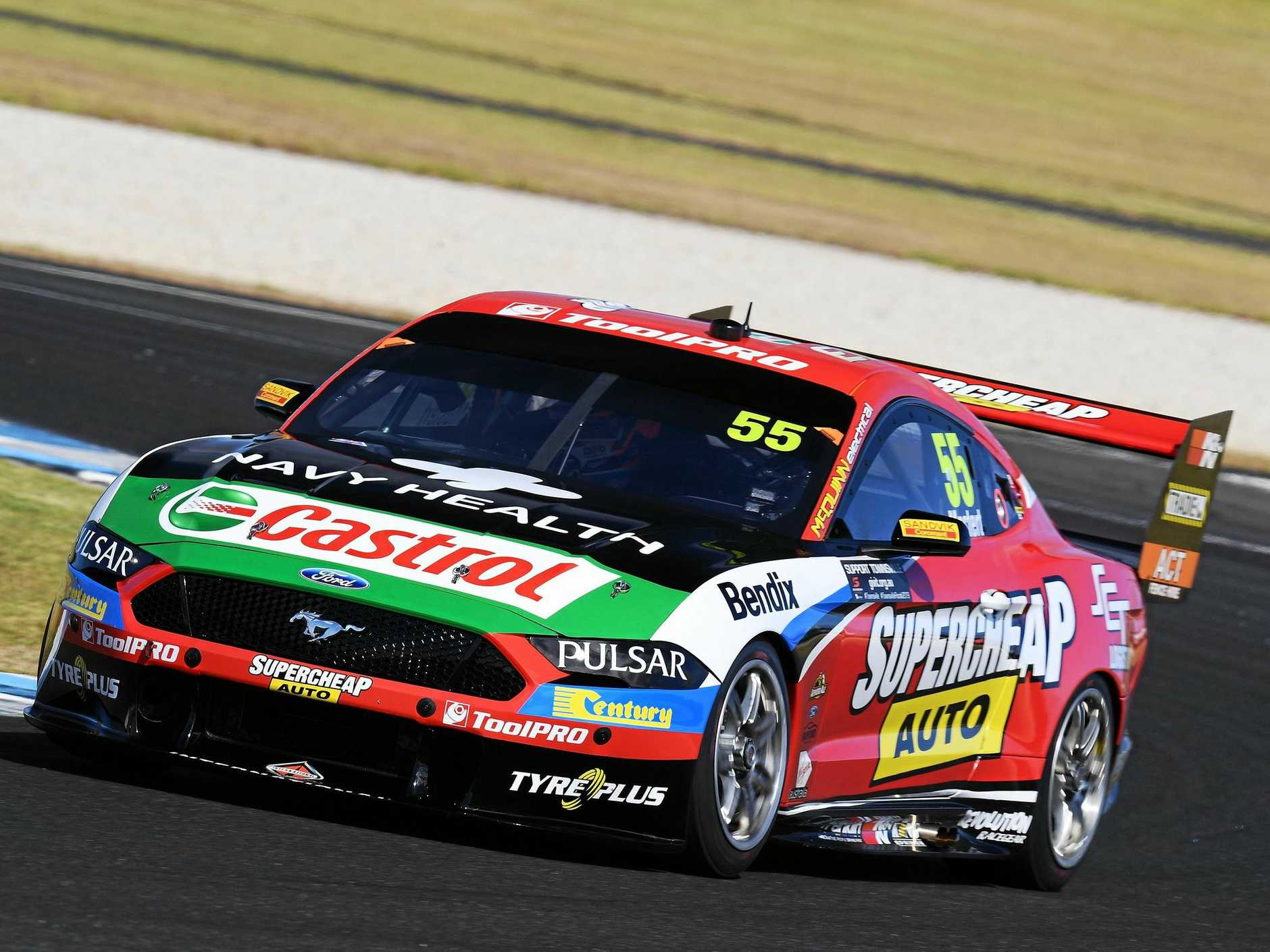 Chaz Mostert pushes his Supercheap Auto Racing Ford Mustang during the Supercars Season Test Day at Phillip Island on Thursday.  Picture: Daniel Kalisz/Getty Images