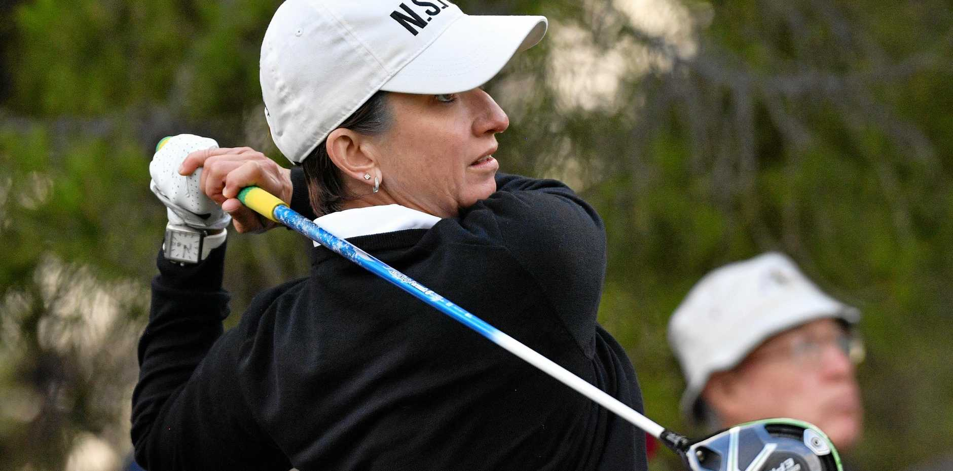 Karrie Webb tees off during her opening round at the Women's Australian Open at The Grange Golf Club, Adelaide. Picture: David Mariuz/AAP