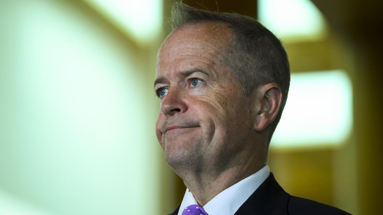 Australian Opposition Leader Bill Shorten speaks to the media during a doorstop interview after attending the International Women's Day breakfast at Parliament House in Canberra. Picture: AAP