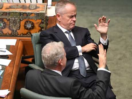 Opposition Leader Bill Shorten and Tony Burke, shadow minister for finance, in Federal Parliament this week. Picture: Mick Tsikas/AAP