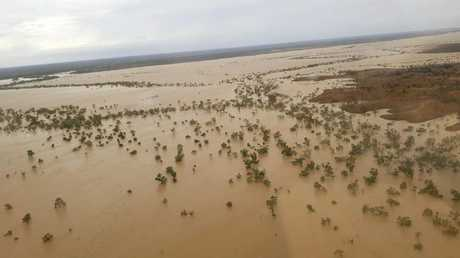 A bird's-eye view of Richmond, which lies on the Flinders, in flood. Picture: Supplied.