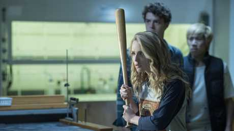 (from left) Jessica Rothe as Tree Gelbman, Israel Broussard as Carter and Phi Vu as Ryan in