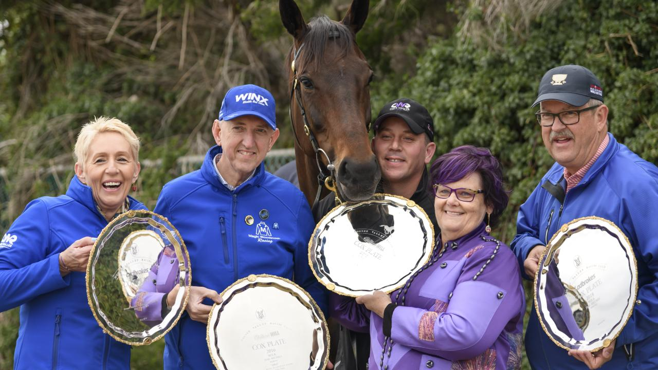 Winx with connections Patricia and Peter Tighe, strapper Umut Odemislioglu, and Debbie and Paul Kepitis and her four Cox Plates. Picture: Getty Images