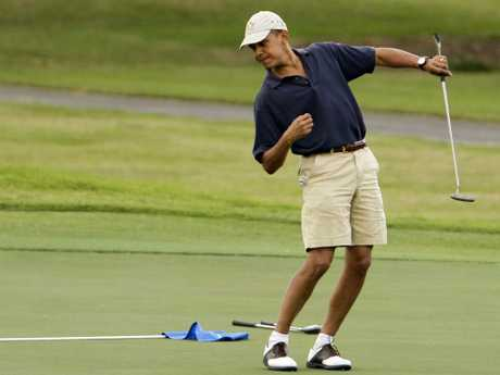 Trump was critical of Barack Obama for playing golf while president. Picture: AP