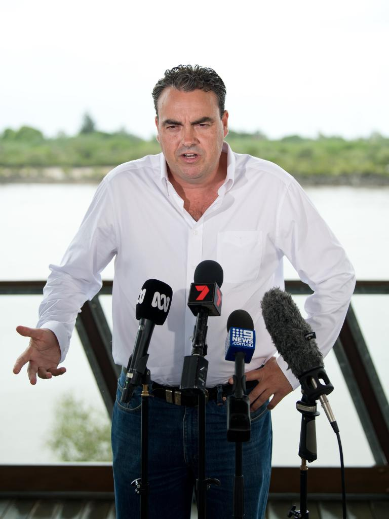 An animated Jason Costigan faced media in Mackay to deny harassment allegations made against him.