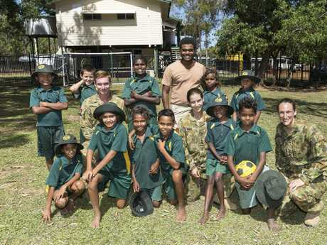 Australian Army soldiers visit the local children at Laura State School in Cape York. Picture: AP