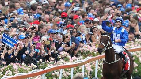 A big crowd was at the Valley last year to witness Winx's historic fourth Cox Plate win. Picture: Alex Coppel