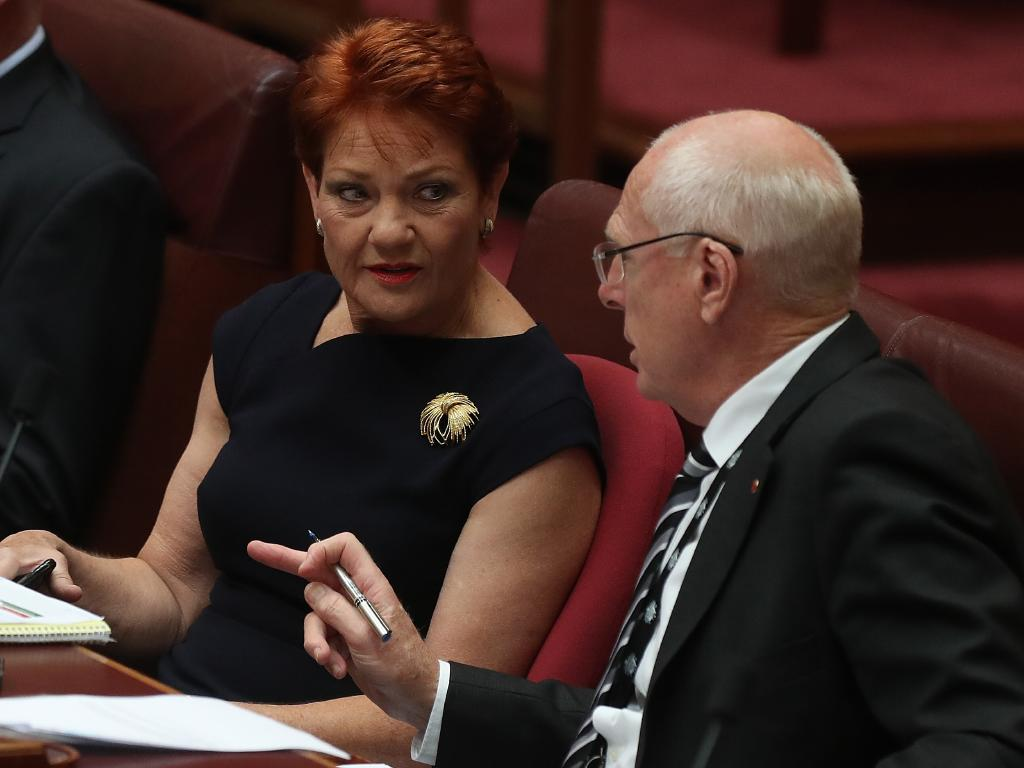 Senator Pauline Hanson speaking with Senator Jim Molan during a division in the Senate Chamber at Parliament House in Canberra. Picture: Kym Smith
