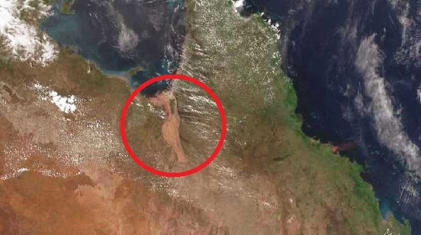 Satellite imagery from the Bureau of Meteorology clearly shows the vast muddy area that is the engorged Flinders River. It's so wide it has enveloped other nearby rivers.