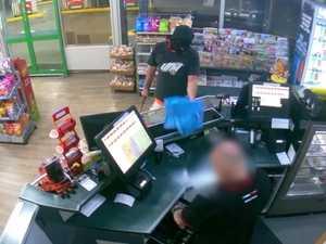 WATCH: Man wields wood in early-morning servo robbery