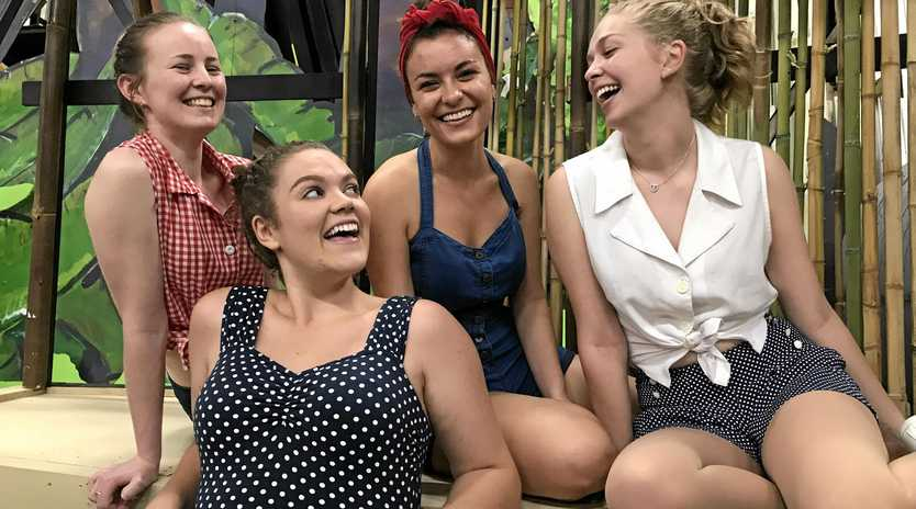 SO MUCH JOY: Some of the nursing cast at rehearsals for South Pacific are Raechelle Walters, Helena Esposito, Eleanor Hannan and (front) Olivia Rowe.