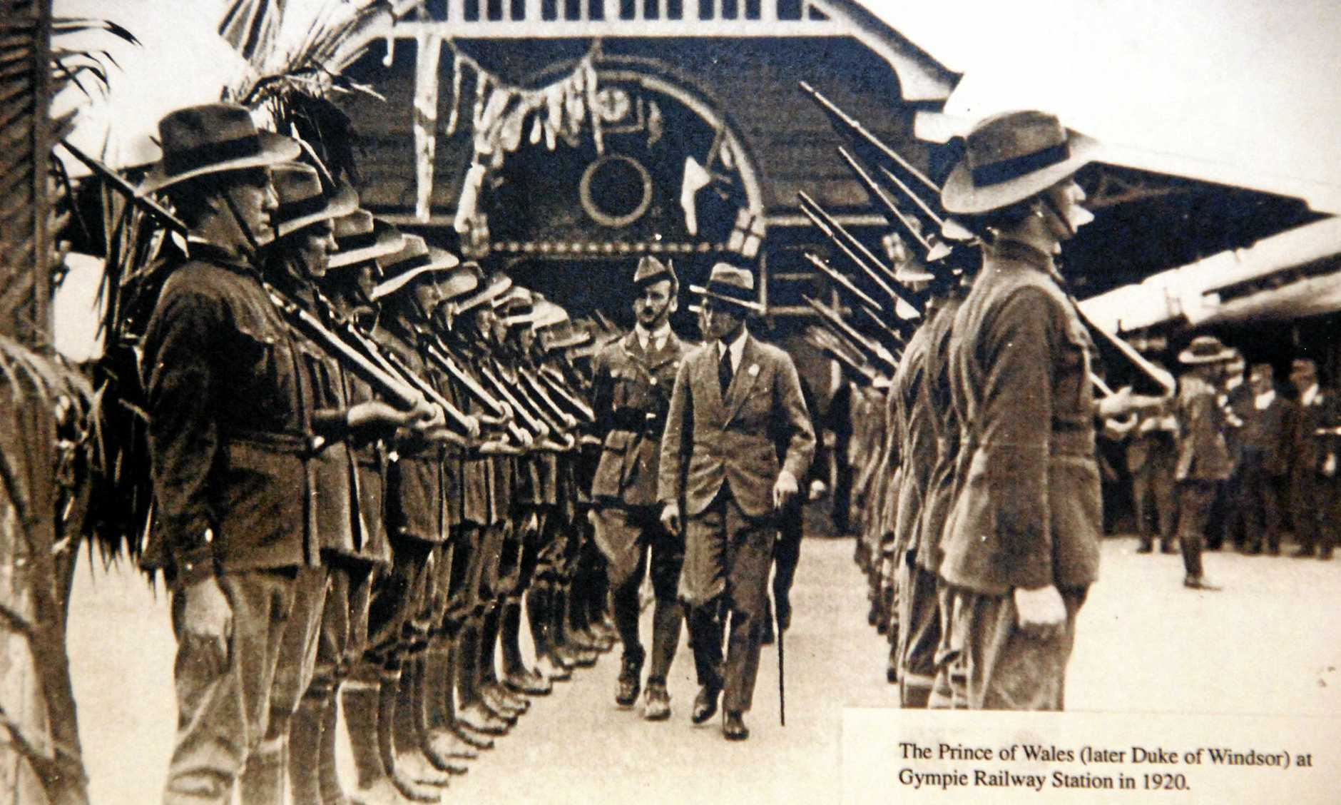 The Prince of Wales, later the Duke of Windsor inspects the guard of honour with Captain George Thomas father of Gympie women Lindsay Thomas at the Gympie Railway Station.