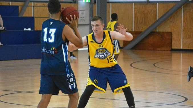 ON GUARD: Biloela-based Gladstone under-16 basketball representative player Owen Gardiner defending against Rockhampton last weekend.