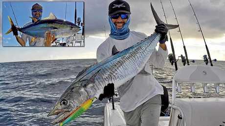 Gotcha - Local angler Dave Leonard with a quality Spanish mackerel and yellowfin tuna from Sunshine Reef.
