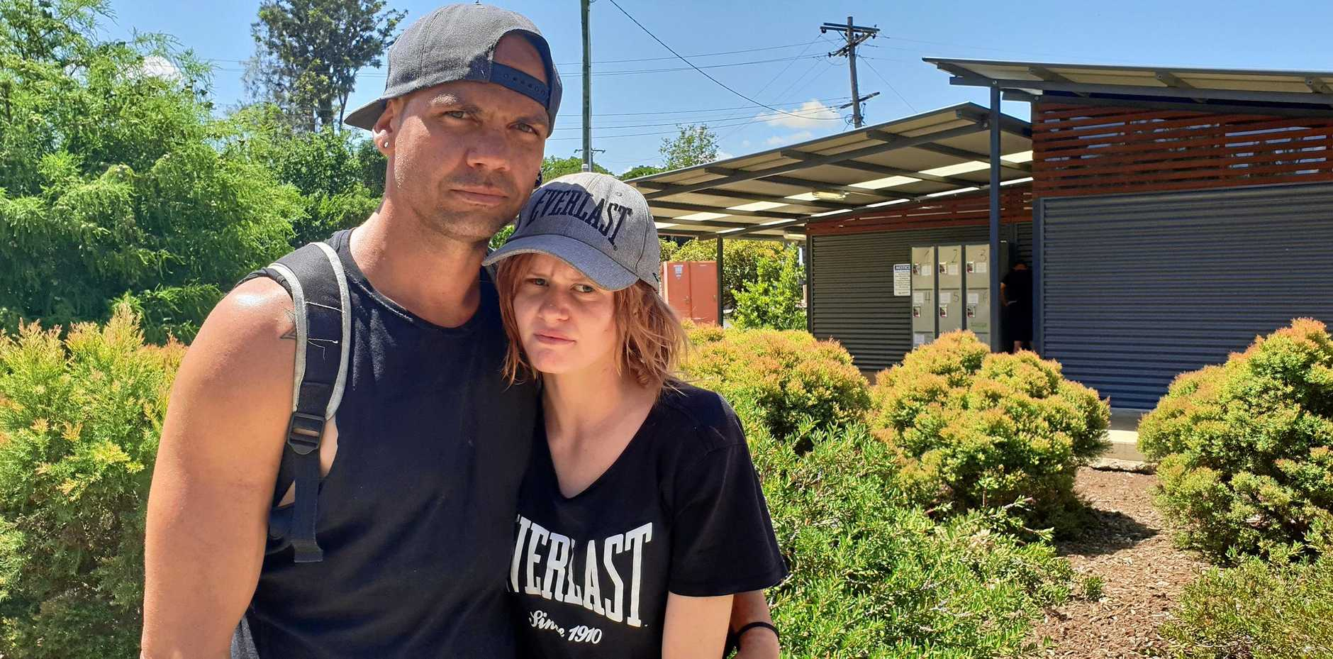 Couple Dayne Lea and Lily-Jo Peacock say life as homeless people has been rough, with services full.