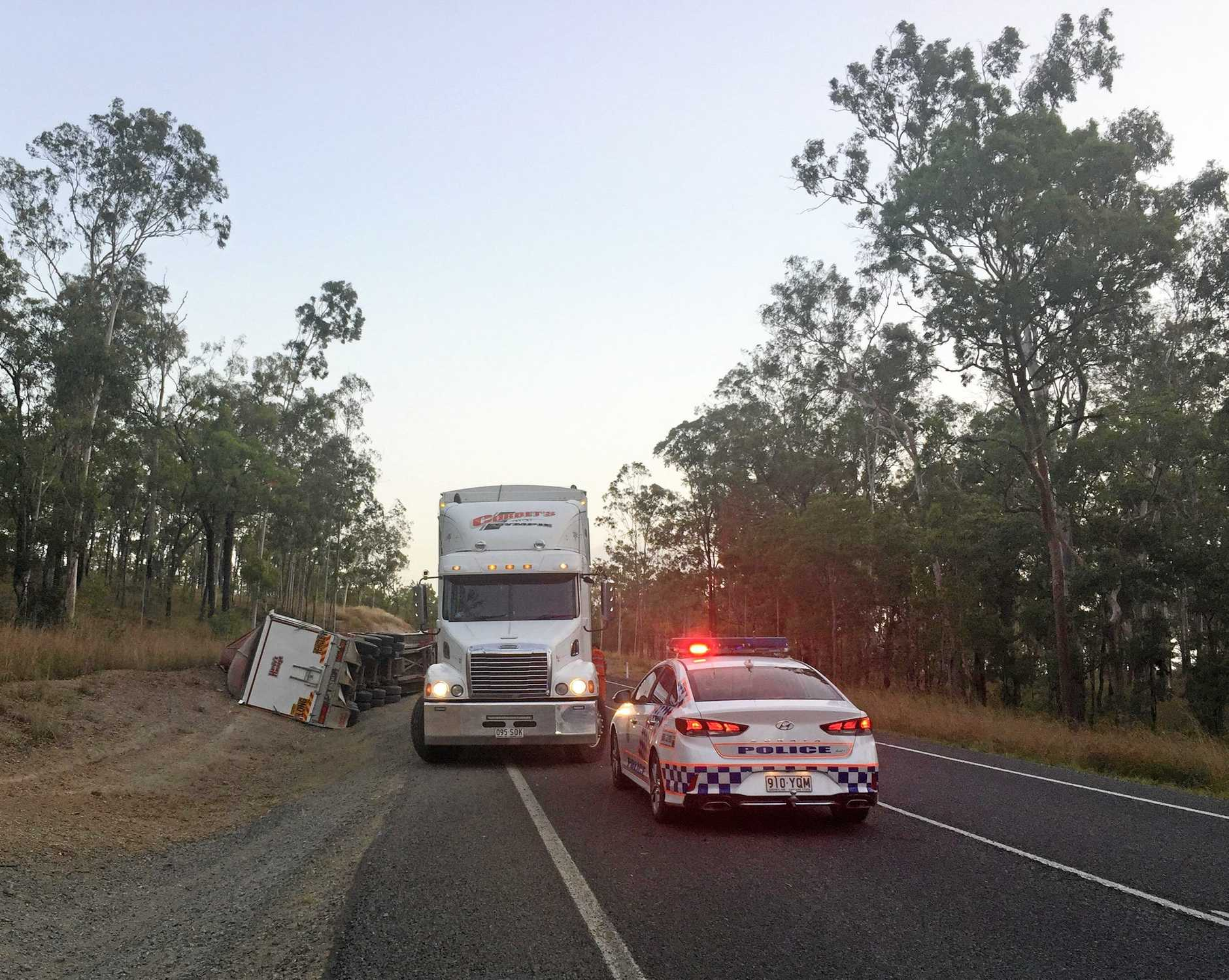 The truck rolled on the Burnett Highway south of Ban Ban Springs on February 14, 2019.
